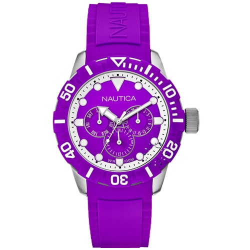 NAUTICA NSR 101 Multi Purple Rubber Strap  149€  http://www.oroloi.gr/product_info.php?products_id=30239