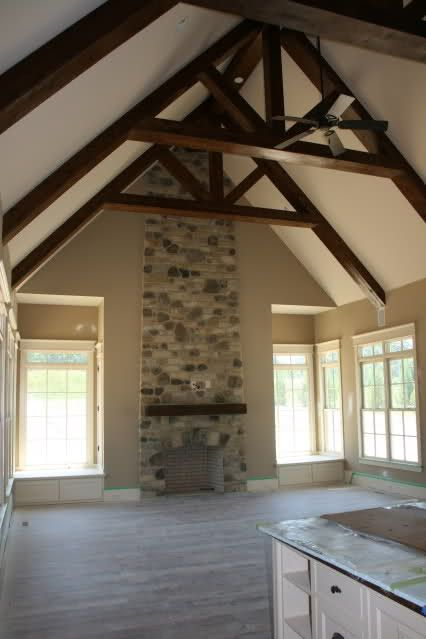 Top 25 ideas about ceiling beams on pinterest front for Vaulted ceiling with exposed beams