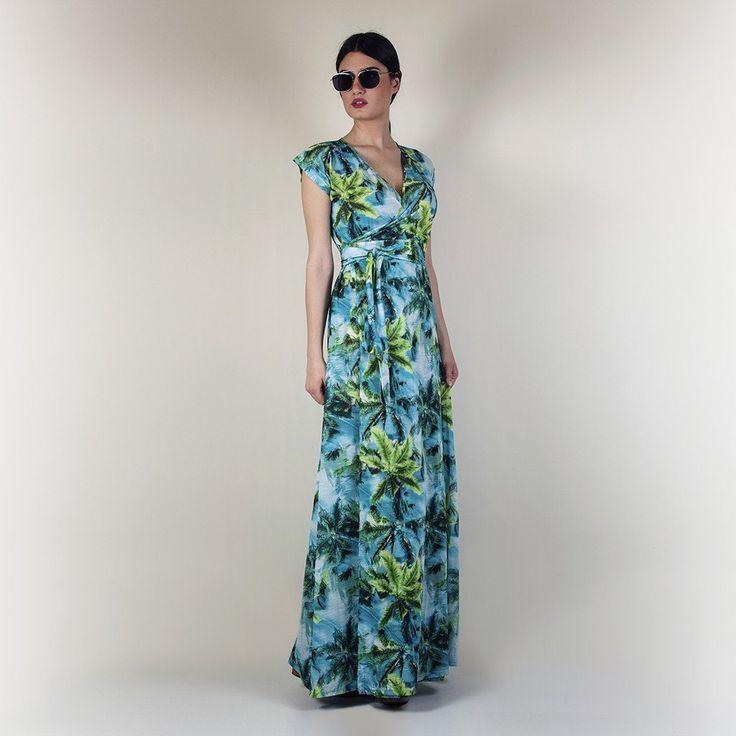 Violet wrap dress tropical green