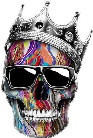 Oil faded King Skull