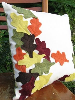 throw pillow with felt autumn leaves:
