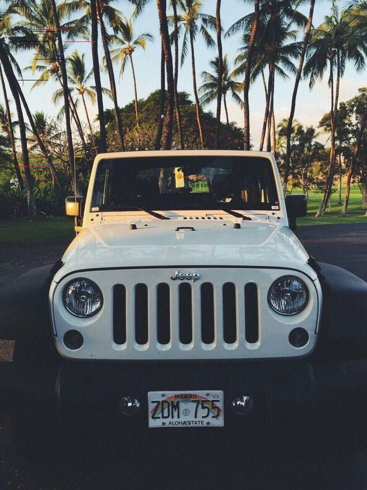 White Jeep Wrangler Under The Palm Trees In Hawaii Luxury Brand Car Information And Promotion Blog White Jeep Wrangler Dream Cars Jeep White Jeep