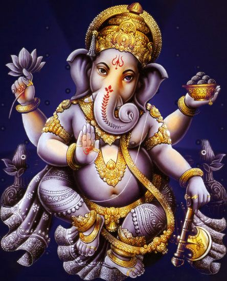 As Ekadanta, the Lord has limitless powers. As Heramba, He removes obstacles. As Lambodara, He Protects all worlds. As SurpaKarna, He shows compassion by giving the highest knowledge.