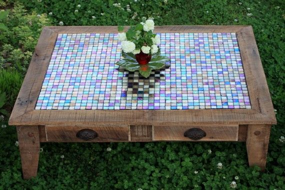 Large Coffee Table Tile Mosaic Reclaimed by natureinspiredcrafts, $975.00