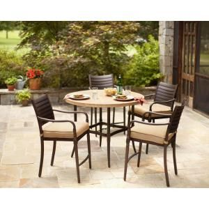 Hampton Bay Madison 5 Piece Patio High Dining Set With Textured Golden Wheat Cushion 13h 001