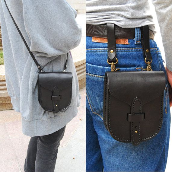 Handtailor Leather Hip Bag. Cigarette Bag. by PerfectMomentWithYou