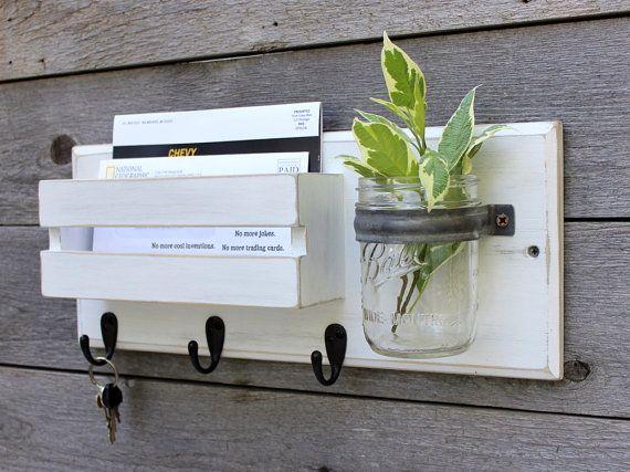 Rustic Mail Organizer and Key Rack with Mason Jar, Dog Leash Holder, Entryway Organizer, Key Holder, Mail Holder,  Mason Jar Vase, Key Hook