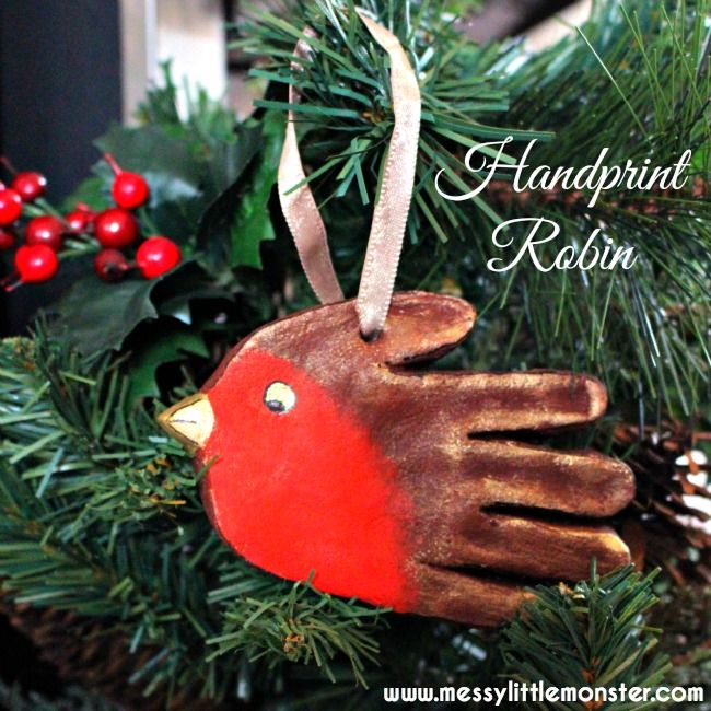 Salt dough handprint robin keepsake. Christmas craft for toddlers, preschoolers and older kids.