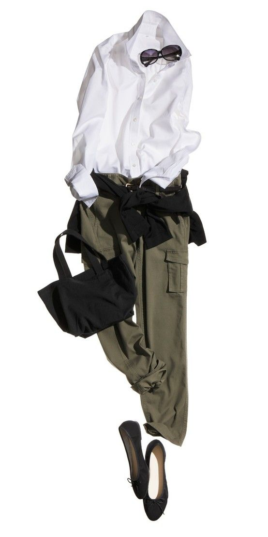 white shirt - green cargos - black accessories..classic