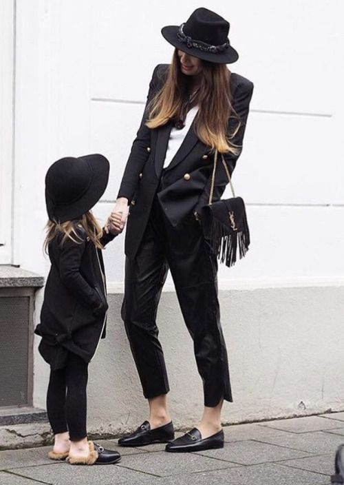 Chic black jacket, pants, hat. Mini style. Mother and daughter style. Studded Rose