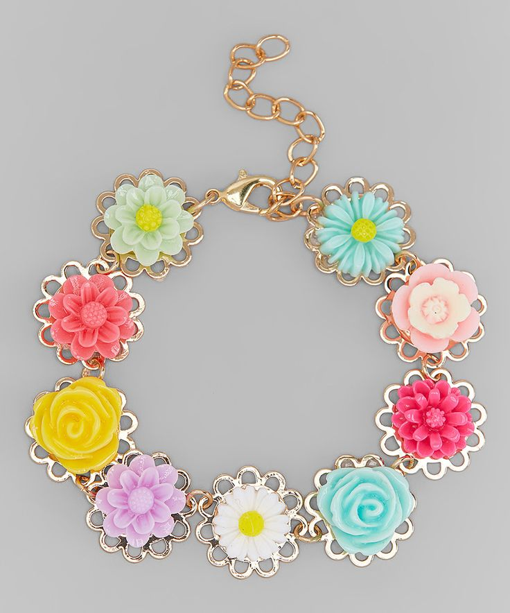 Charlotte Rose Couture Pink & Yellow Flower Cabochon Bracelet by Charlotte Rose Couture #zulily #zulilyfinds