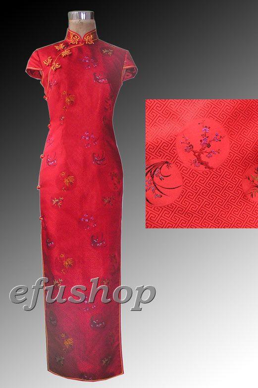 Red capped cheongsam dress SCT173
