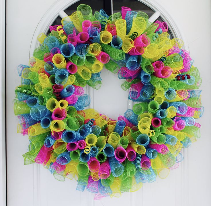 "Excited to share the latest addition to my #etsy shop: Spring Time Wreath, Deco Mesh, Spring Wreath, Yellow, Blue, Green, Pink, Bright, Cheerful, Wreath, Home Decor, ""WELCOME"", Summer http://etsy.me/2EIYakn #housewares #homedecor #blue #easter #GlitterDazzleSparkle"