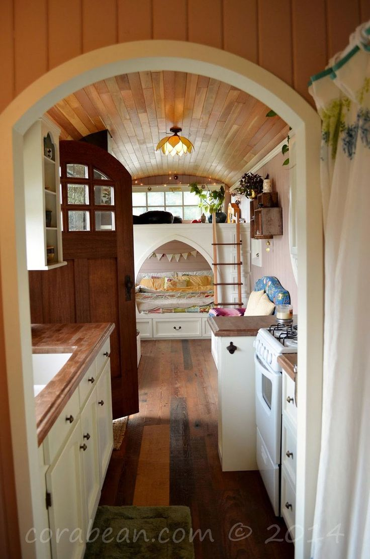 A retired school bus completely transformed into a #micro living space in Portland, #Oregon.