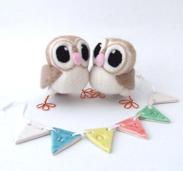 Owl Wedding Cake Topper Barn Owl Pair in soft Browns Felt Birds £52.00