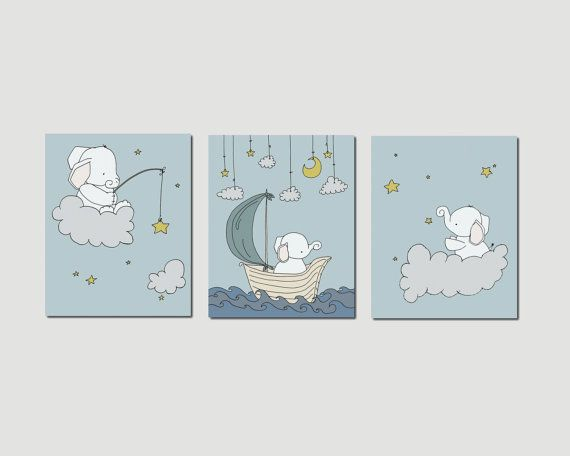 Elephant Nursery Art Prints, Nursery Decor, Elephants Clouds and Stars Art, Set Of 3 Print, Kids Wall Art on Etsy, $45.00