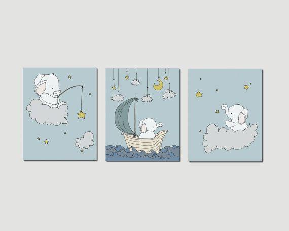 Elephant Nursery Art Prints, Nursery Decor, Elephants Clouds and Stars Art, Set Of 3  Print, Kids Wall Art on Etsy, $45.00