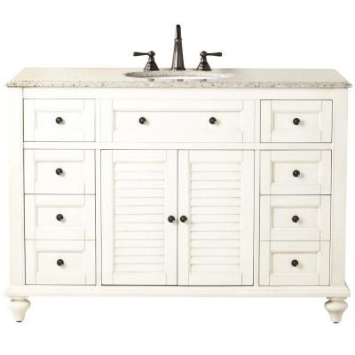 Home Decorators Collection Hamilton 49.5 in. W x 22 in. D Shutter Bath Vanity in White with Granite Vanity Top in Grey with White Basin-1235200410 - The Home Depot