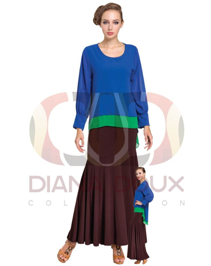 OWB32-38  Double Layered Chiffon Puff Sleeve Top  Color: BLUE Size: FREE SIZE Weight: 260G Material: Chiffon Measurement: Shoulder: 37cm  Sleeve: 63cm  Length: 86cm  Bust: 92cm Category: Blouse Type: Ready Stock