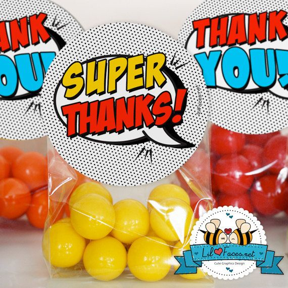 """INSTANT DOWNLOAD Pop Art SuperHero Thank you Favor tag - 2"""" circles- Super Hero Birthday Party - Comics Pop art -Personalized Printable pdf on Etsy, $4.95"""