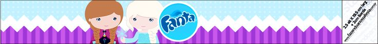 Rótulo Fanta Frozen Cute Roxo e Azul