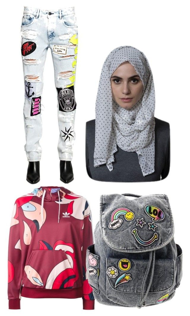 """""""Patches Fever Back to School [plus HIJAB]"""" by nabillasyarah on Polyvore featuring Filles à papa and adidas Originals"""