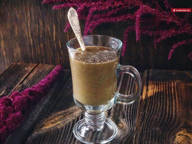 Зеленый коктейль с амарантом и семенами чиа