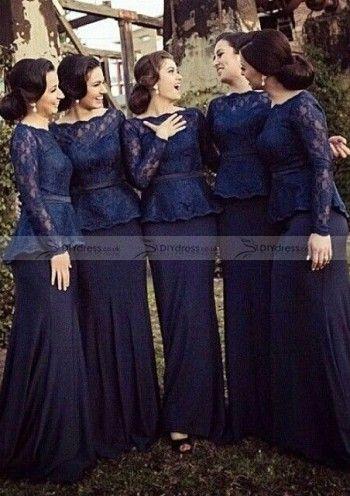 Vogue Sheath Full Sleeve Bateau Lace Chiffon Sweep Trailing Dresses