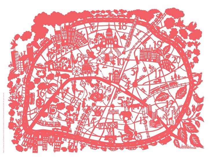 Paper map of Paris