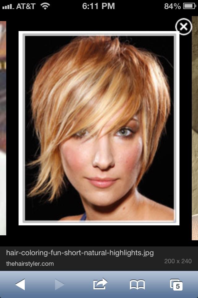 Strawberry blonde lowlights + cute haircut