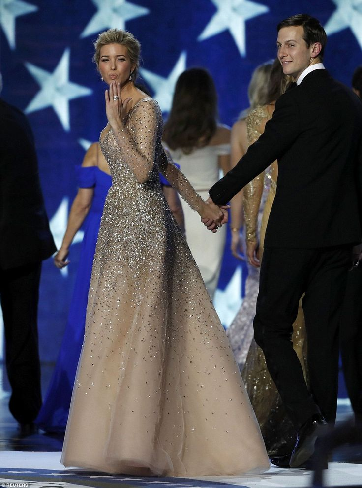 First daughter Ivanka had a princess moment as she stunned in a glittery Carolina Herrera ...