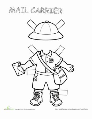 Mail Carrier BW paper doll. Printable. Free. @ http://www.education.com/worksheet/article/career-paper-dolls-mail/ (free basic membership) (HIT LIMIT)