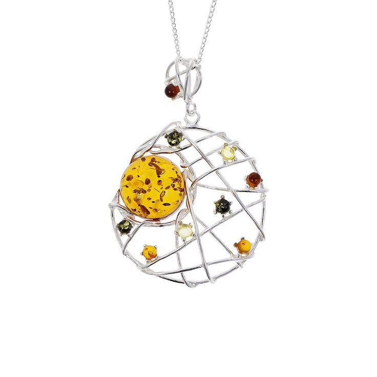 Sterling silver and amber dreamcatcher pendant  | Natural History Museum Online Shop