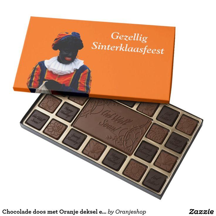 Chocolade doos met Oranje deksel en Zwarte Piet 45 Piece Box Of Chocolates