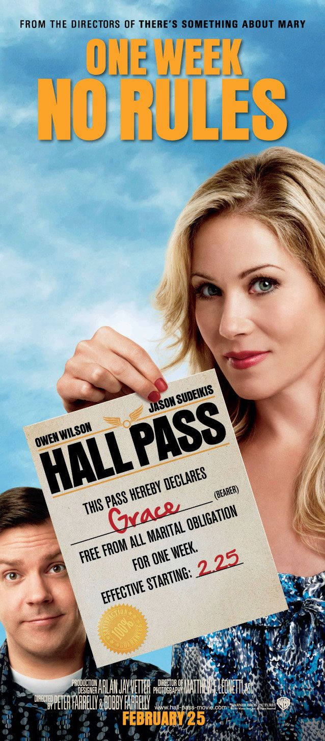Hall Pass , starring Owen Wilson, Jason Sudeikis, Christina Applegate, Jenna Fischer. Rick and Fred, two husbands who are having difficulty in their marriages, are given a Hall Pass by their wives: for one week, they can do whatever they want. #Comedy #Romance