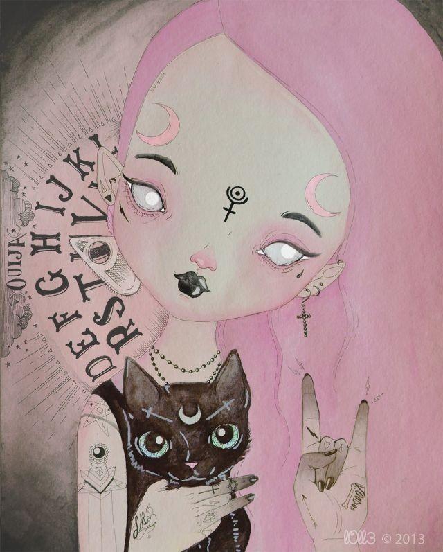 pink hair, Ouija board, black cat, crossess, pastel goth, black lipstick, crescent moons