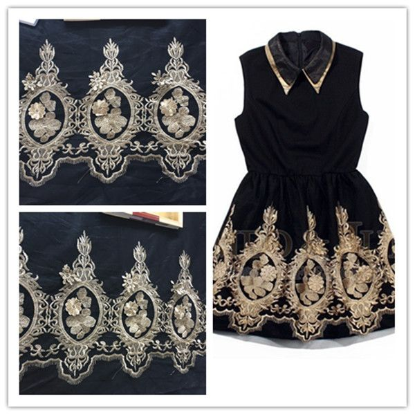 Gold thread Flower Embroidery Lace Fabric Applique Bottom of the black gauze Lace Patch Large Applique Sewing Accessory15cm*35cm