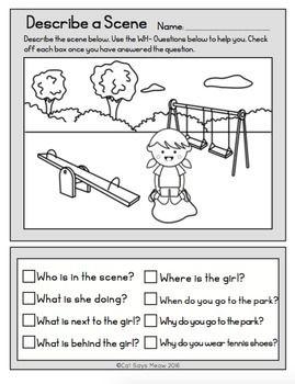 Wh- Questions: No Prep Freebie! Describe a Scene (Print and Go ...