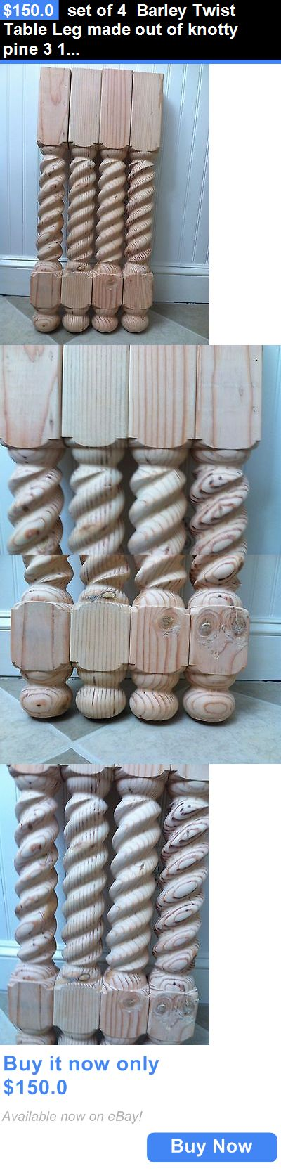 Antiques: Set Of 4 Barley Twist Table Leg Made Out Of Knotty Pine 3 1/2 X 29 BUY IT NOW ONLY: $150.0