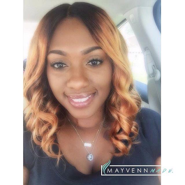 Mayvenn hair with simple curls and custom color