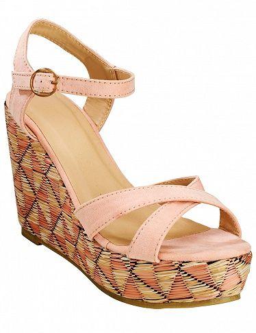 Sandales rose clair avec talon compensé raphia