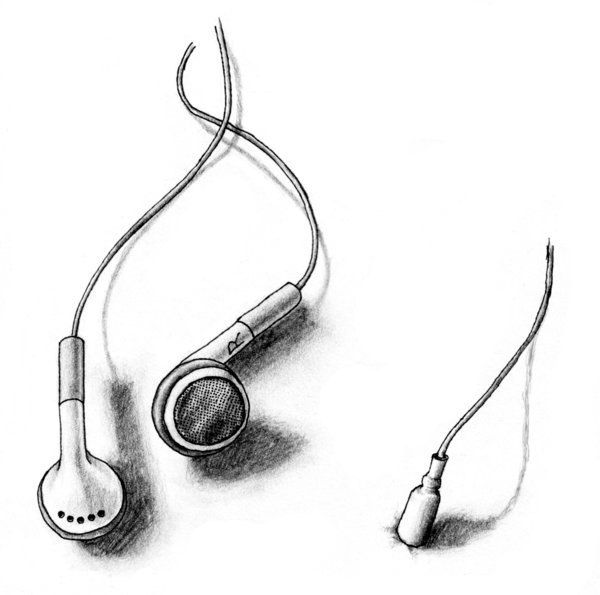 Small Headphones Tattoo Sketch
