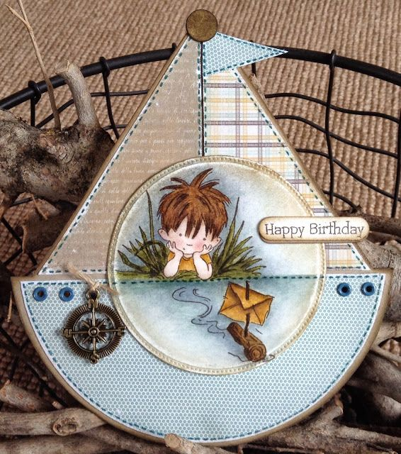 handmade card ... shaped as a sailboat ... adorable LOTV image - By the River by DT Lou
