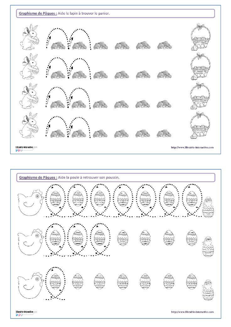 14 fiches de graphisme sur le thème de Pâques, pour les élèves de maternelle (petite section, moyenne section et grande section). Plusieurs notions travaillées, telles que les lignes verticales, les lignes obliques, les spirales, les ponts, les pics, les ronds, les points...