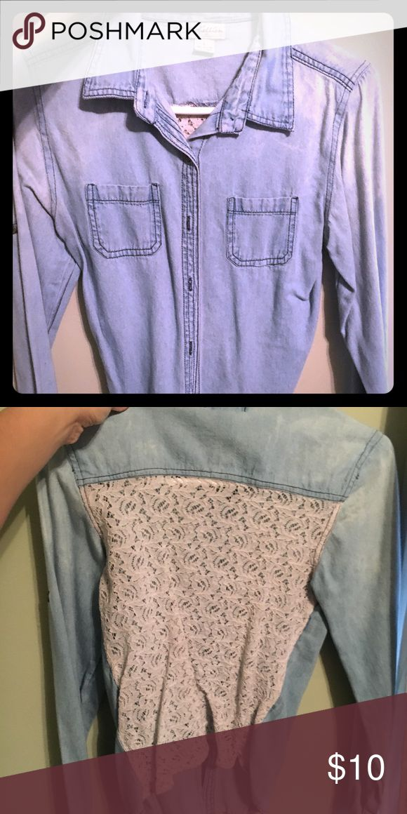 Denim long sleeve shirt Denim long sleeve shirt with a beautiful crochet design on the back rebellion Tops Button Down Shirts