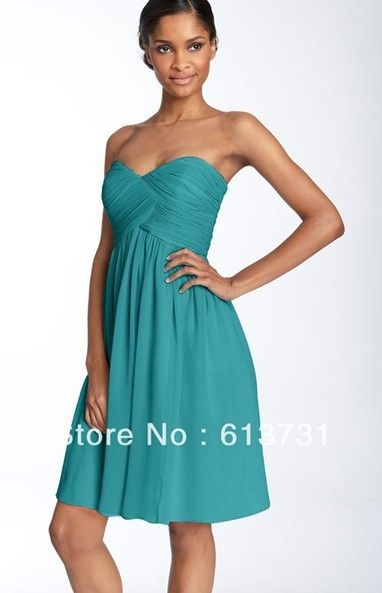 Wholesale 2013 New Sexy Chiffon Knee Length Short Turquoise Bridesmaid Dresses Patterns bd0057 $69.00
