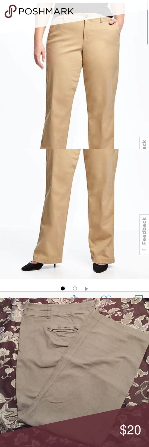 Old Navy Dress Khaki PLUS SIZE Cute and comfy Old Navy boot cut khakis. Small hole on side of leg. Can be easily sewn back together. Very similar to first two stock photos. Old Navy Pants Boot Cut & Flare