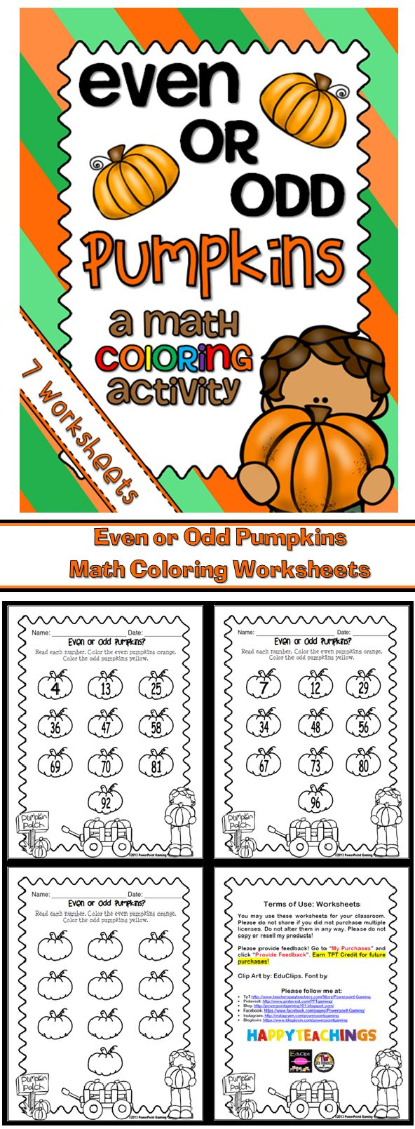 This 8 page set of worksheets reinforce learning even and odd numbers. Students will color even numbers one color and odd numbers another color. The numbers range from 0 to 99. Perfect for your high level thinkers. Great for a guided math center or pumpkin celebration.