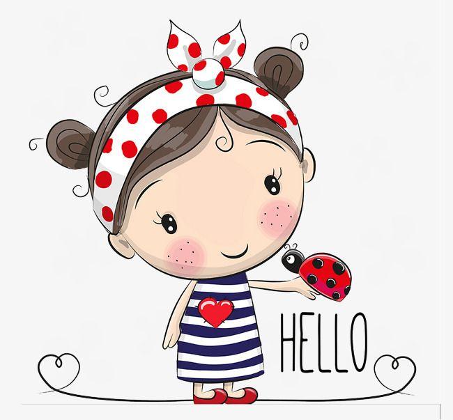 Cartoon Little Girl Cartoon Clipart Ladybug Girl Png