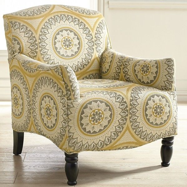 Pier 1 Imports Frankie Gold Suzani Armchair ($400) ❤ liked on Polyvore featuring home, furniture, chairs, accent chairs, yellow, colored chairs, gold accent chair, patterned chair, gold chair and gold armchair